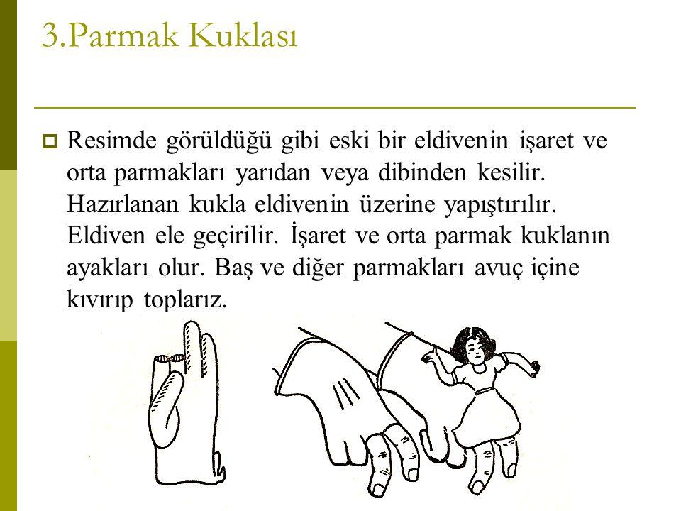 3.Parmak Kuklası  Resimde görüldüğü gibi eski bir eldivenin işaret ve orta parmakları yarıdan veya dibinden kesilir. Hazırlanan kukla eldivenin üzeri