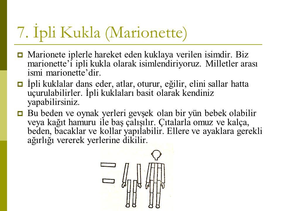 7. İpli Kukla (Marionette)  Marionete iplerle hareket eden kuklaya verilen isimdir. Biz marionette'i ipli kukla olarak isimlendiriyoruz. Milletler ar