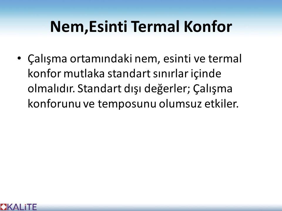 Nem,Esinti Termal Konfor • Çalışma ortamındaki nem, esinti ve termal konfor mutlaka standart sınırlar içinde olmalıdır.