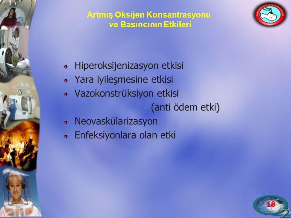 18 Artmış Oksijen Konsantrasyonu ve Basıncının Etkileri Hiperoksijenizasyon etkisi Yara iyileşmesine etkisi Vazokonstrüksiyon etkisi (anti ödem etki)