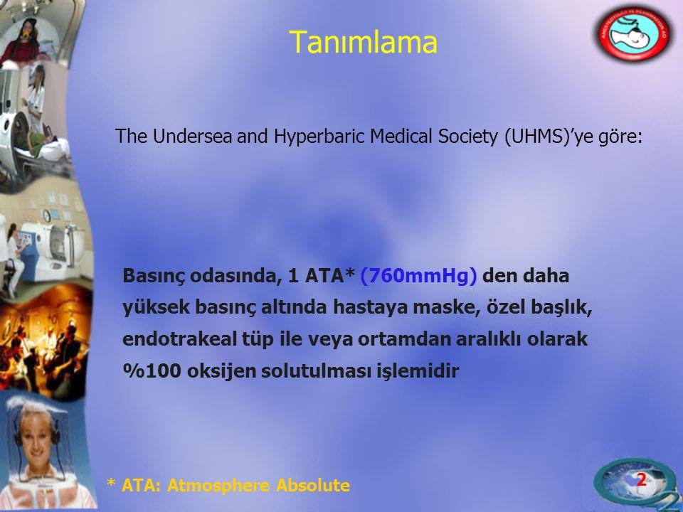 2 Tanımlama The Undersea and Hyperbaric Medical Society (UHMS)'ye göre: Basınç odasında, 1 ATA* (760mmHg) den daha yüksek basınç altında hastaya maske