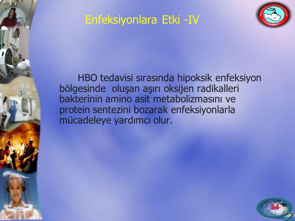 34 Enfeksiyonlara Etki -IV HBO tedavisi sırasında hipoksik enfeksiyon bölgesinde oluşan aşırı oksijen radikalleri bakterinin amino asit metabolizmasın