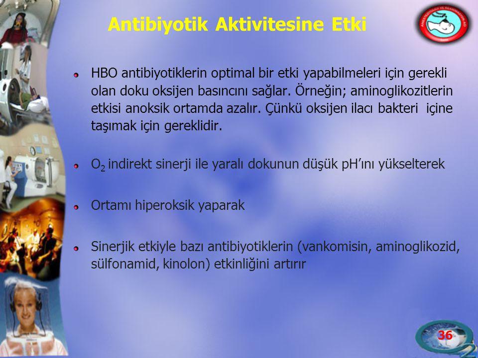36 Antibiyotik Aktivitesine Etki HBO antibiyotiklerin optimal bir etki yapabilmeleri için gerekli olan doku oksijen basıncını sağlar. Örneğin; aminogl
