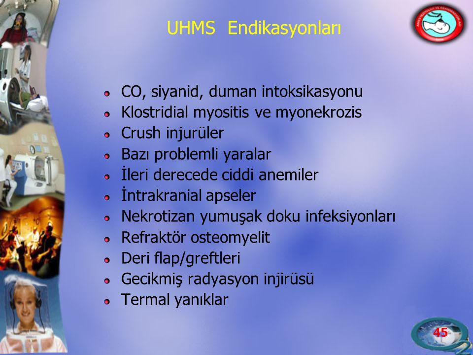 45 UHMS Endikasyonları CO, siyanid, duman intoksikasyonu Klostridial myositis ve myonekrozis Crush injurüler Bazı problemli yaralar İleri derecede cid