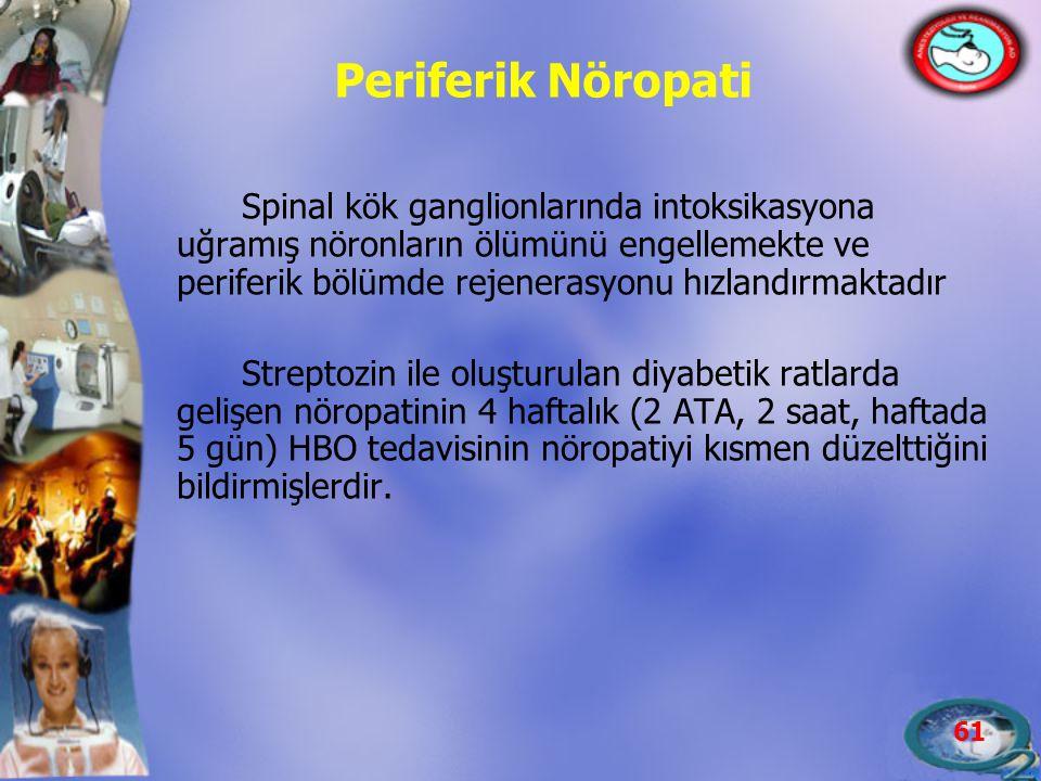 61 Periferik Nöropati Spinal kök ganglionlarında intoksikasyona uğramış nöronların ölümünü engellemekte ve periferik bölümde rejenerasyonu hızlandırma