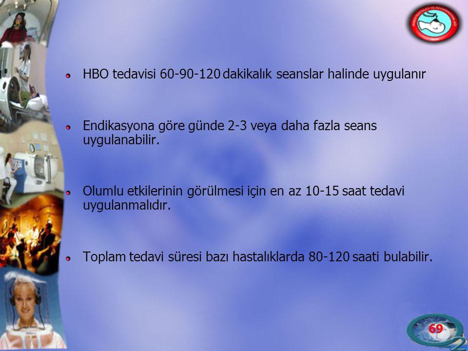 69 HBO tedavisi 60-90-120 dakikalık seanslar halinde uygulanır Endikasyona göre günde 2-3 veya daha fazla seans uygulanabilir. Olumlu etkilerinin görü