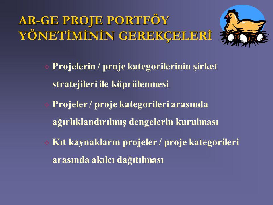 AR-GE PROJE PORTFÖY YÖNETİMİNİN GEREKÇELERİ  Projelerin / proje kategorilerinin şirket stratejileri ile köprülenmesi  Projeler / proje kategorileri
