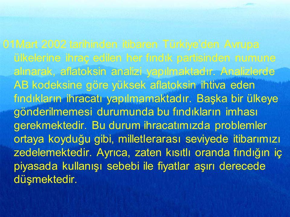 01Mart 2002 tarihinden itibaren Türkiye'den Avrupa ülkelerine ihraç edilen her fındık partisinden numune alınarak, aflatoksin analizi yapılmaktadır. A