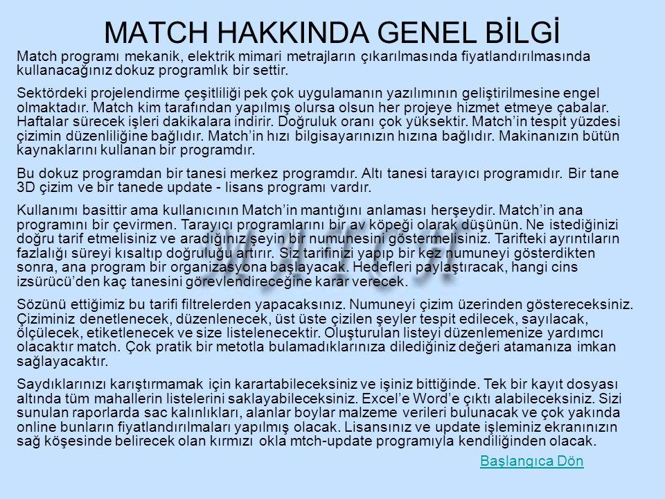 MATCH HAKKINDA GENEL BİLGİ Match programı mekanik, elektrik mimari metrajların çıkarılmasında fiyatlandırılmasında kullanacağınız dokuz programlık bir