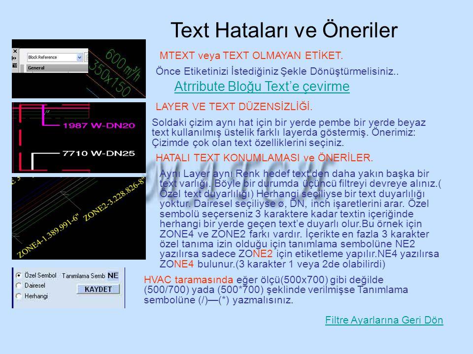 Text Hataları ve Öneriler Soldaki çizim aynı hat için bir yerde pembe bir yerde beyaz text kullanılmış üstelik farklı layerda göstermiş. Önerimiz: Çiz