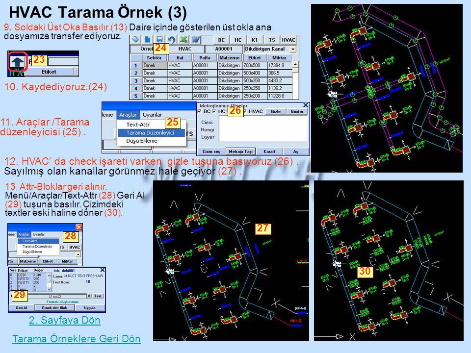 HVAC Tarama Örnek (3) 9. Soldaki Üst Oka Basılır.(13) Daire içinde gösterilen üst okla ana dosyamıza transfer ediyoruz. 23 10. Kaydediyoruz.(24) 24 Ta