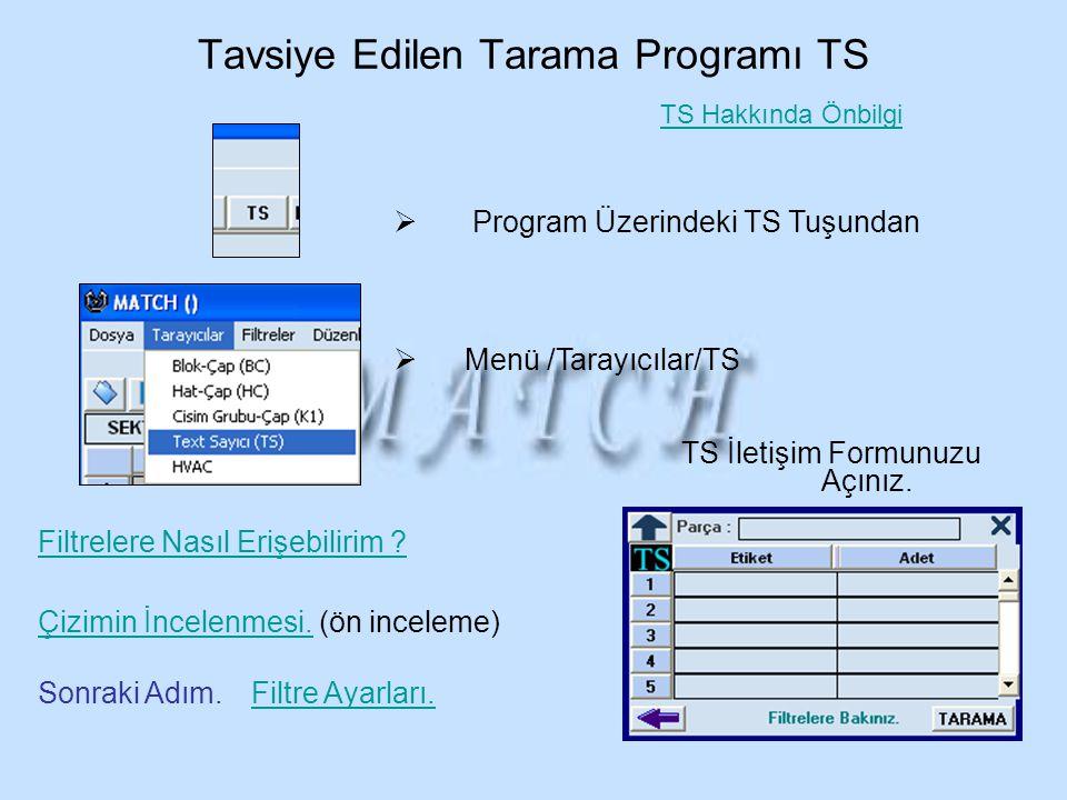 Tavsiye Edilen Tarama Programı TS  Program Üzerindeki TS Tuşundan  Menü /Tarayıcılar/TS TS İletişim Formunuzu Açınız. Filtre Ayarları. Filtrelere Na