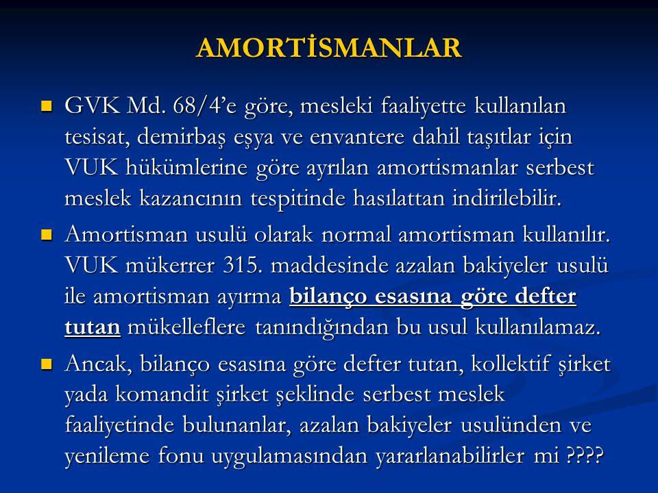 AMORTİSMANLAR  GVK Md. 68/4'e göre, mesleki faaliyette kullanılan tesisat, demirbaş eşya ve envantere dahil taşıtlar için VUK hükümlerine göre ayrıla