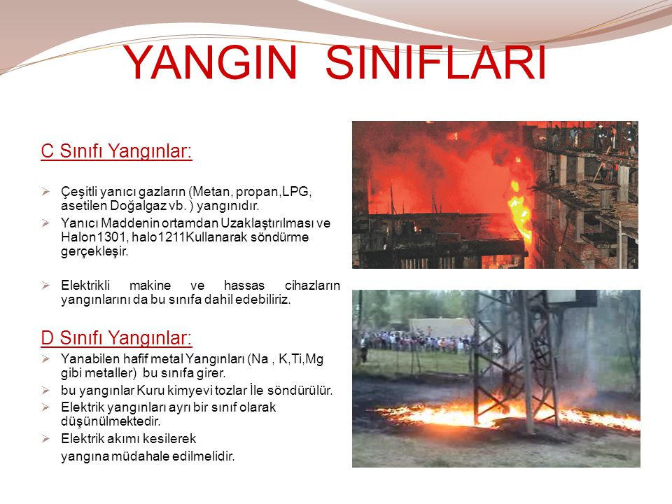 YANGIN SINIFLARI C Sınıfı Yangınlar:  Çeşitli yanıcı gazların (Metan, propan,LPG, asetilen Doğalgaz vb. ) yangınıdır.  Yanıcı Maddenin ortamdan Uzak