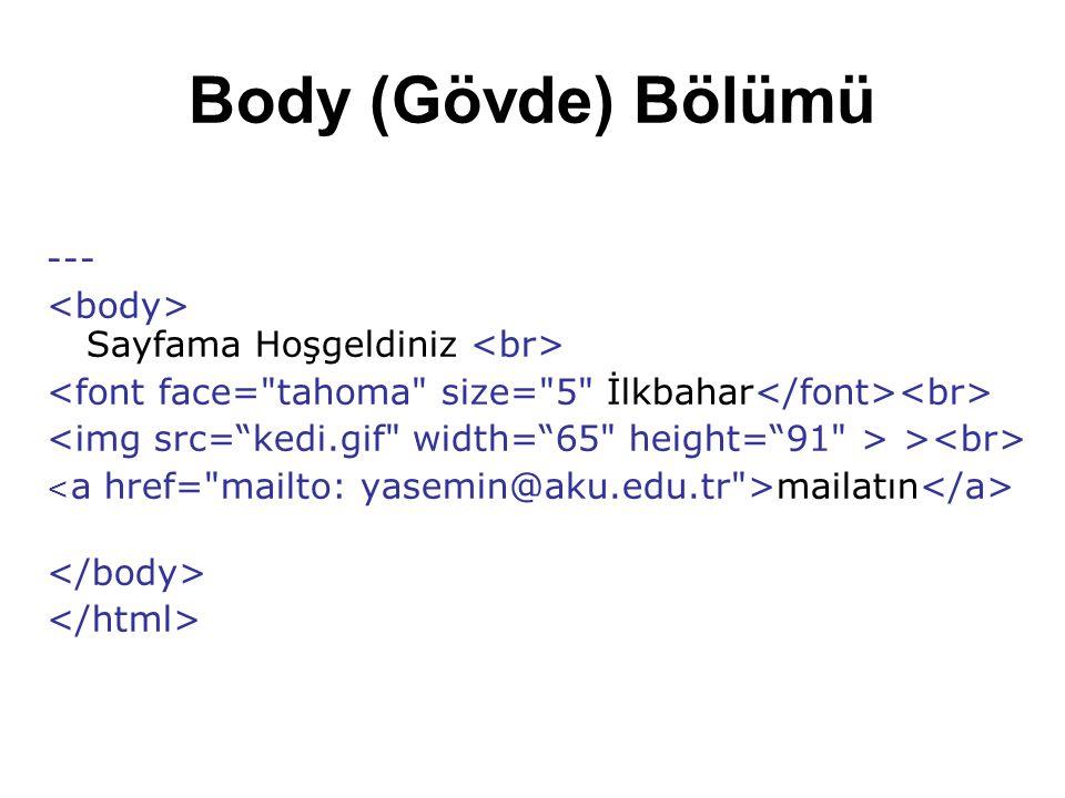 Body (Gövde) Bölümü --- Sayfama Hoşgeldiniz > mailatın