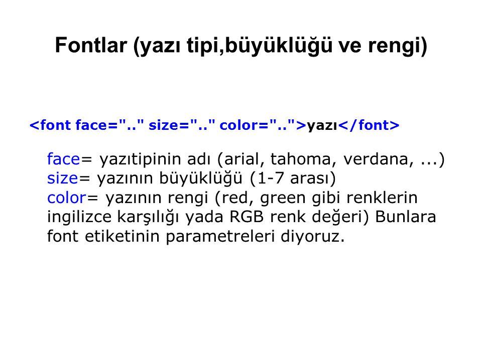 Fontlar (yazı tipi,büyüklüğü ve rengi) yazı face= yazıtipinin adı (arial, tahoma, verdana,...) size= yazının büyüklüğü (1-7 arası) color= yazının rengi (red, green gibi renklerin ingilizce karşılığı yada RGB renk değeri) Bunlara font etiketinin parametreleri diyoruz.