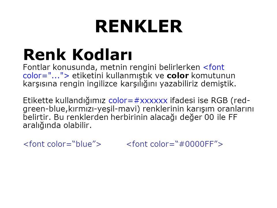 RENKLER Renk Kodları Fontlar konusunda, metnin rengini belirlerken etiketini kullanmıştık ve color komutunun karşısına rengin ingilizce karşılığını yazabiliriz demiştik.