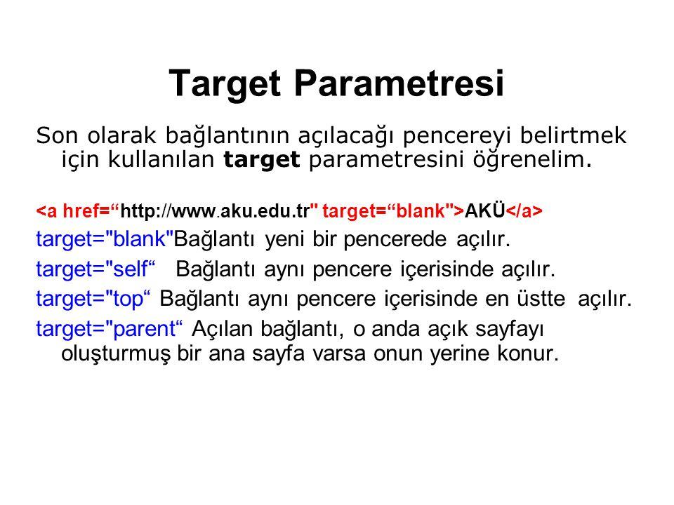 Target Parametresi Son olarak bağlantının açılacağı pencereyi belirtmek için kullanılan target parametresini öğrenelim.