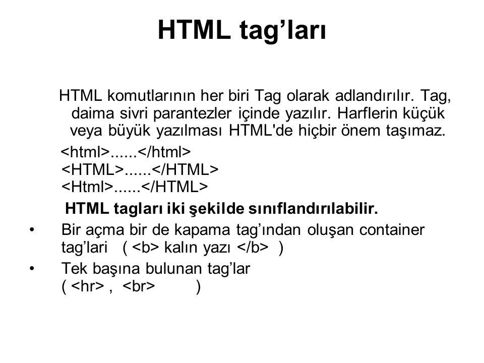 HTML tag'ları HTML komutlarının her biri Tag olarak adlandırılır.