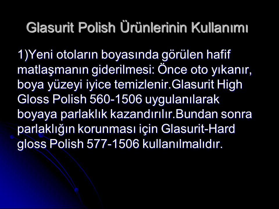 Glasurit Polish Ürünlerinin Kullanımı Glasurit Polish Ürünlerinin Kullanımı 1)Yeni otoların boyasında görülen hafif matlaşmanın giderilmesi: Önce oto
