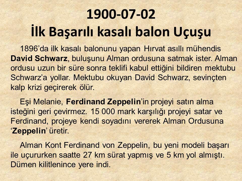 1900-07-02 İlk Başarılı kasalı balon Uçuşu 1896'da ilk kasalı balonunu yapan Hırvat asıllı mühendis David Schwarz, buluşunu Alman ordusuna satmak ister.