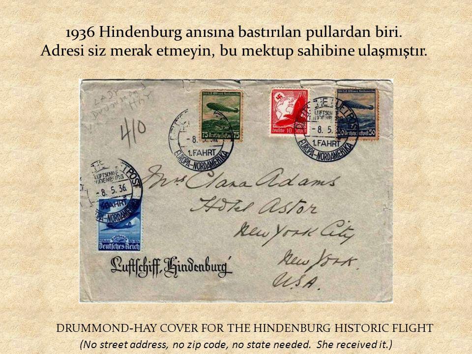 1936 Hindenburg anısına bastırılan pullardan biri.