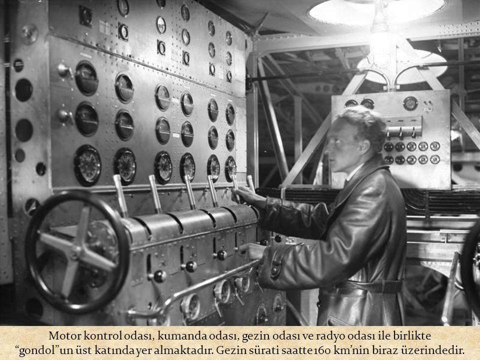 Motor kontrol odası, kumanda odası, gezin odası ve radyo odası ile birlikte gondol un üst katında yer almaktadır.