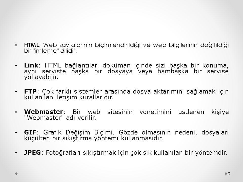 • HTML : Web sayfalarının biçimlendirildiği ve web bilgilerinin dağıtıldığı bir