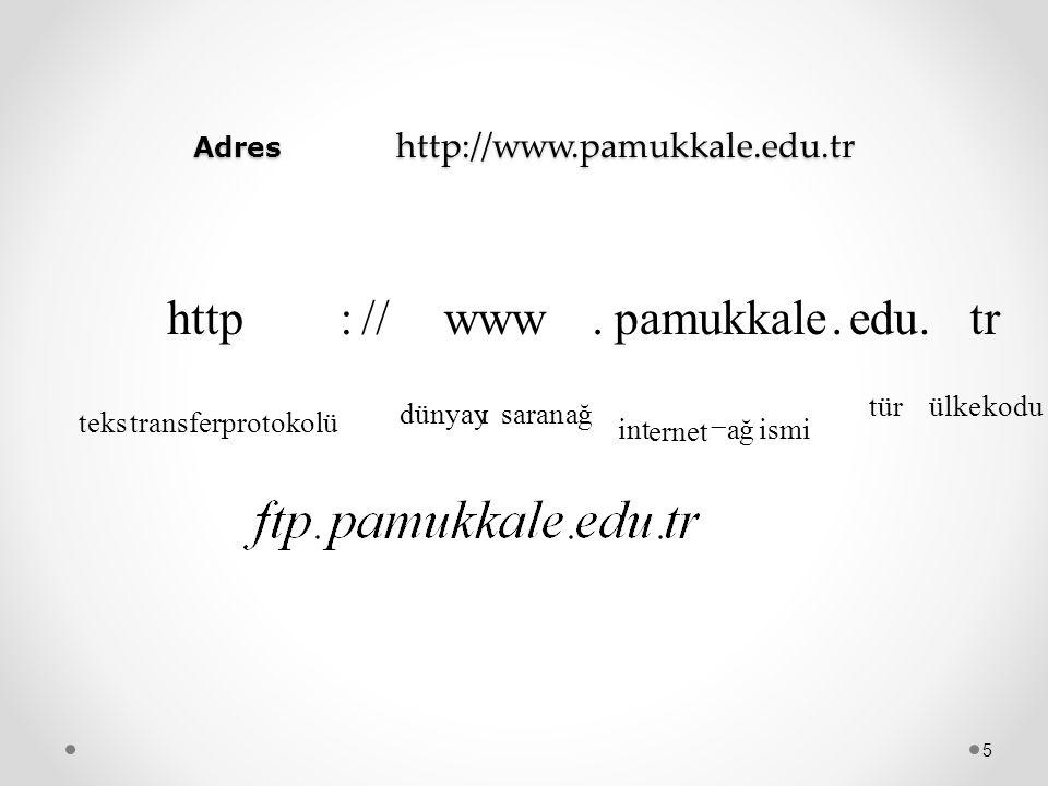 Adres http://www.pamukkale.edu.tr 5 kodu ülketür ismi ağ ernet int ağsaran dünyayı protokolü transfer teks tr.edu. pamukkale.www //:http 