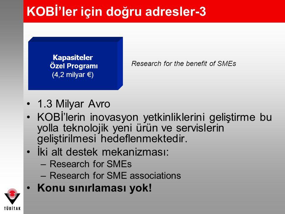 KOBİ'ler için doğru adresler-3 Research for the benefit of SMEs Kapasiteler Özel Programı (4,2 milyar €) •1.3 Milyar Avro •KOBİ'lerin inovasyon yetkin