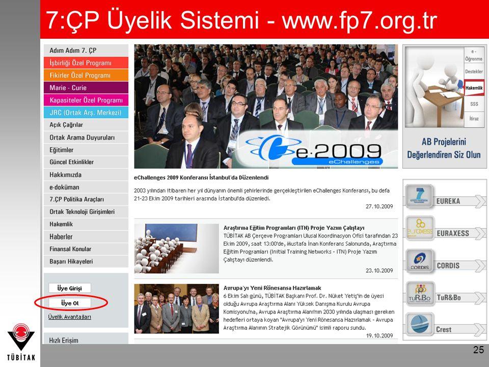 25 7:ÇP Üyelik Sistemi - www.fp7.org.tr