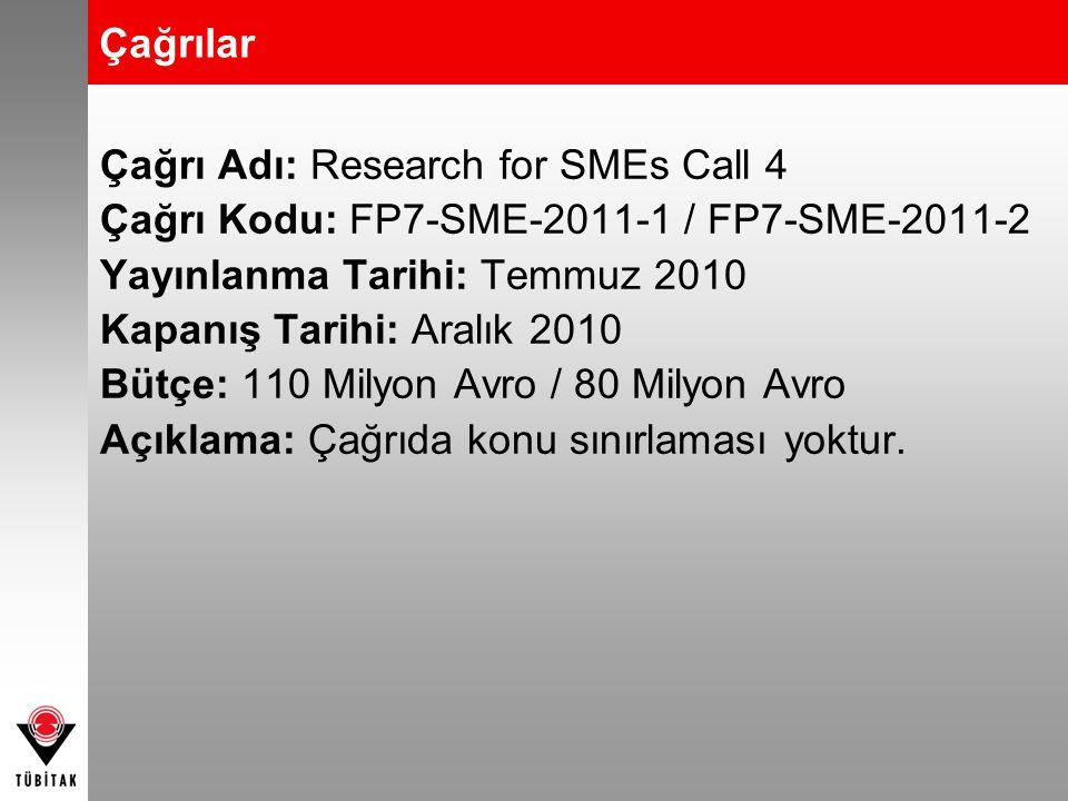 Çağrılar Çağrı Adı: Research for SMEs Call 4 Çağrı Kodu: FP7-SME-2011-1 / FP7-SME-2011-2 Yayınlanma Tarihi: Temmuz 2010 Kapanış Tarihi: Aralık 2010 Bü