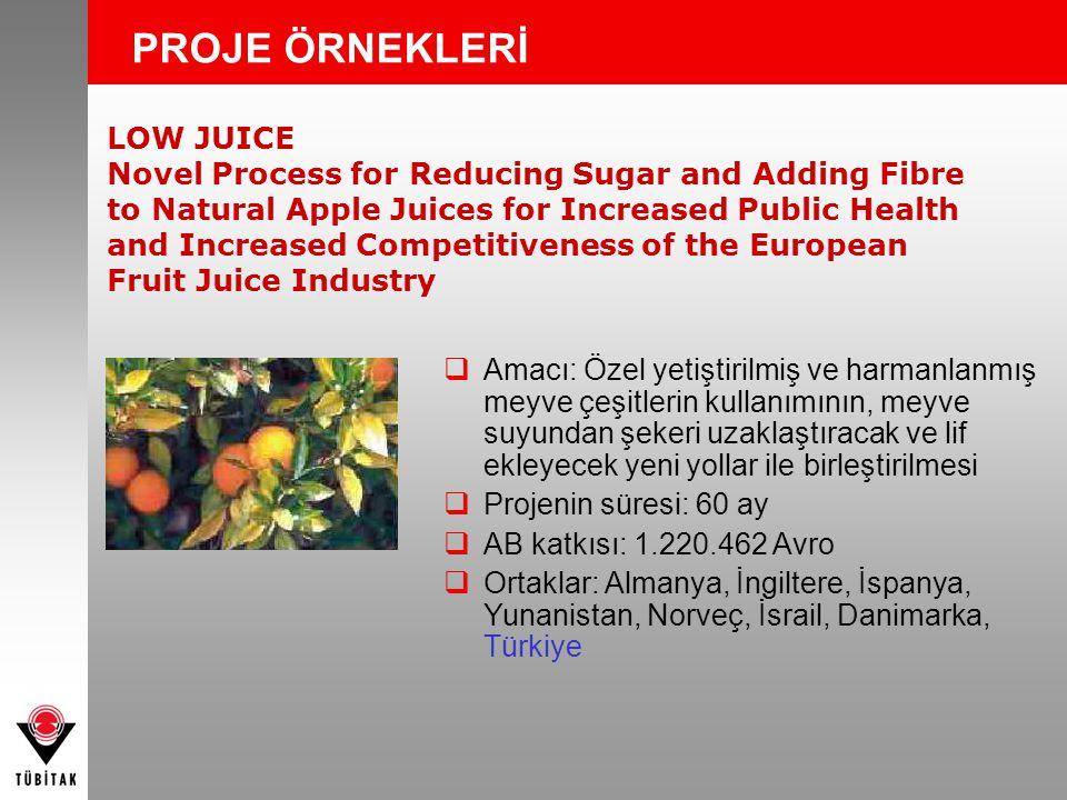 LOW JUICE Novel Process for Reducing Sugar and Adding Fibre to Natural Apple Juices for Increased Public Health and Increased Competitiveness of the European Fruit Juice Industry PROJE ÖRNEKLERİ  Amacı: Özel yetiştirilmiş ve harmanlanmış meyve çeşitlerin kullanımının, meyve suyundan şekeri uzaklaştıracak ve lif ekleyecek yeni yollar ile birleştirilmesi  Projenin süresi: 60 ay  AB katkısı: 1.220.462 Avro  Ortaklar: Almanya, İngiltere, İspanya, Yunanistan, Norveç, İsrail, Danimarka, Türkiye