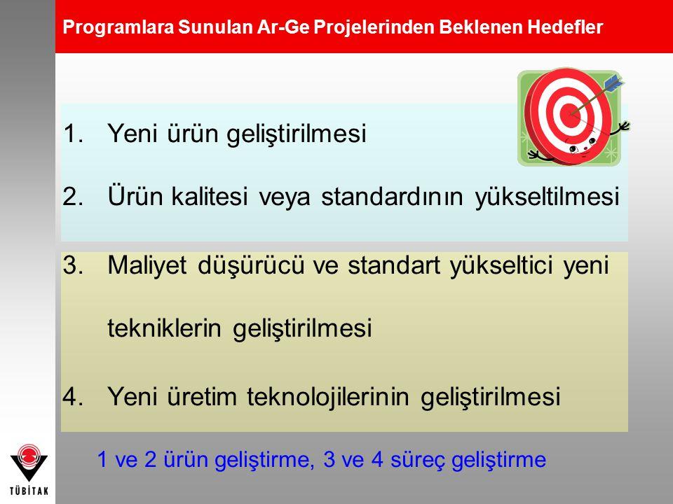 Programlara Sunulan Ar-Ge Projelerinden Beklenen Hedefler 1.Yeni ürün geliştirilmesi 2.Ürün kalitesi veya standardının yükseltilmesi 3.Maliyet düşürüc