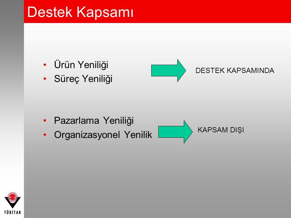 •Ürün Yeniliği •Süreç Yeniliği •Pazarlama Yeniliği •Organizasyonel Yenilik DESTEK KAPSAMINDA KAPSAM DIŞI Destek Kapsamı