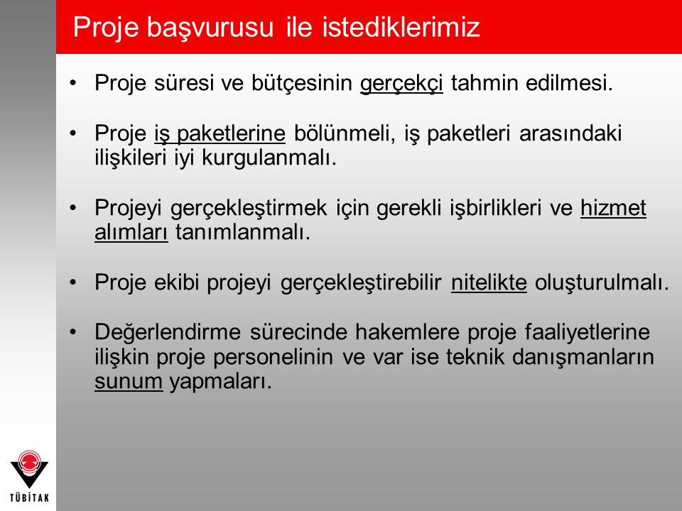 Proje başvurusu ile istediklerimiz •Proje süresi ve bütçesinin gerçekçi tahmin edilmesi. •Proje iş paketlerine bölünmeli, iş paketleri arasındaki iliş