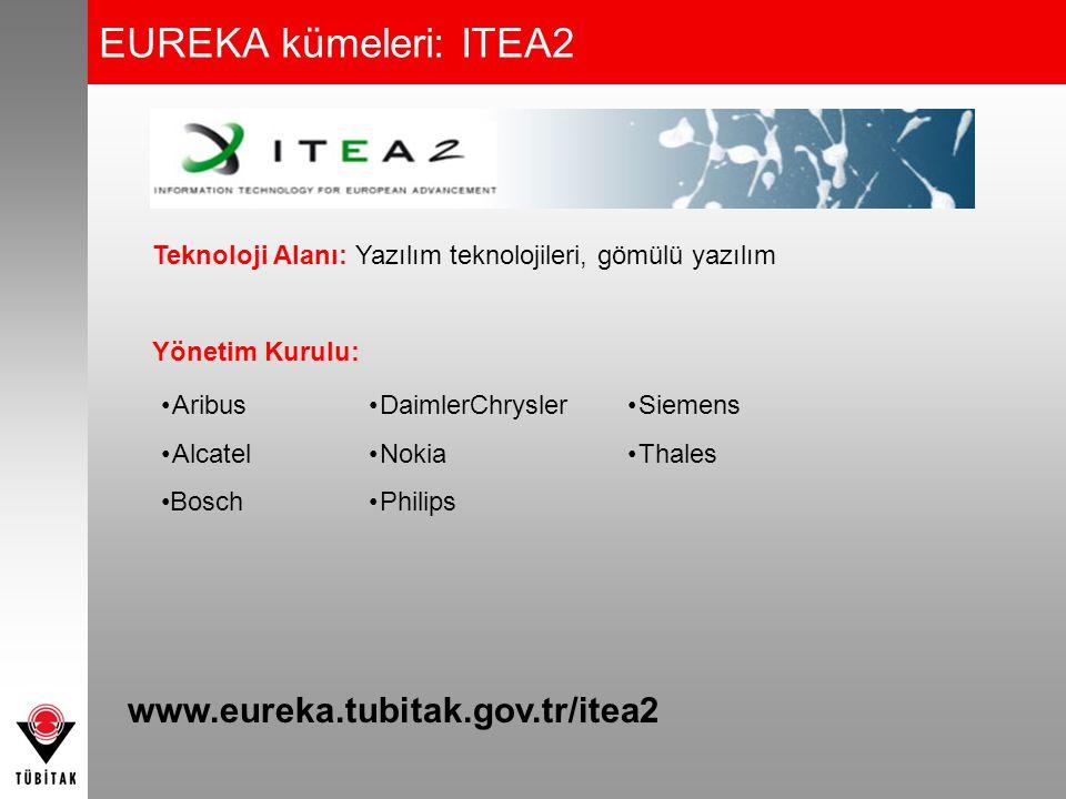 EUREKA kümeleri: ITEA2 Teknoloji Alanı: Yazılım teknolojileri, gömülü yazılım Yönetim Kurulu: •Aribus •Alcatel •Bosch •DaimlerChrysler •Nokia •Philips