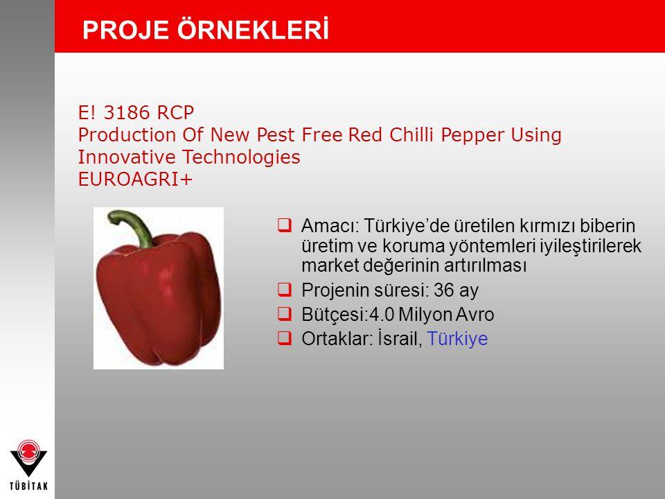 PROJE ÖRNEKLERİ E! 3186 RCP Production Of New Pest Free Red Chilli Pepper Using Innovative Technologies EUROAGRI+  Amacı: Türkiye'de üretilen kırmızı