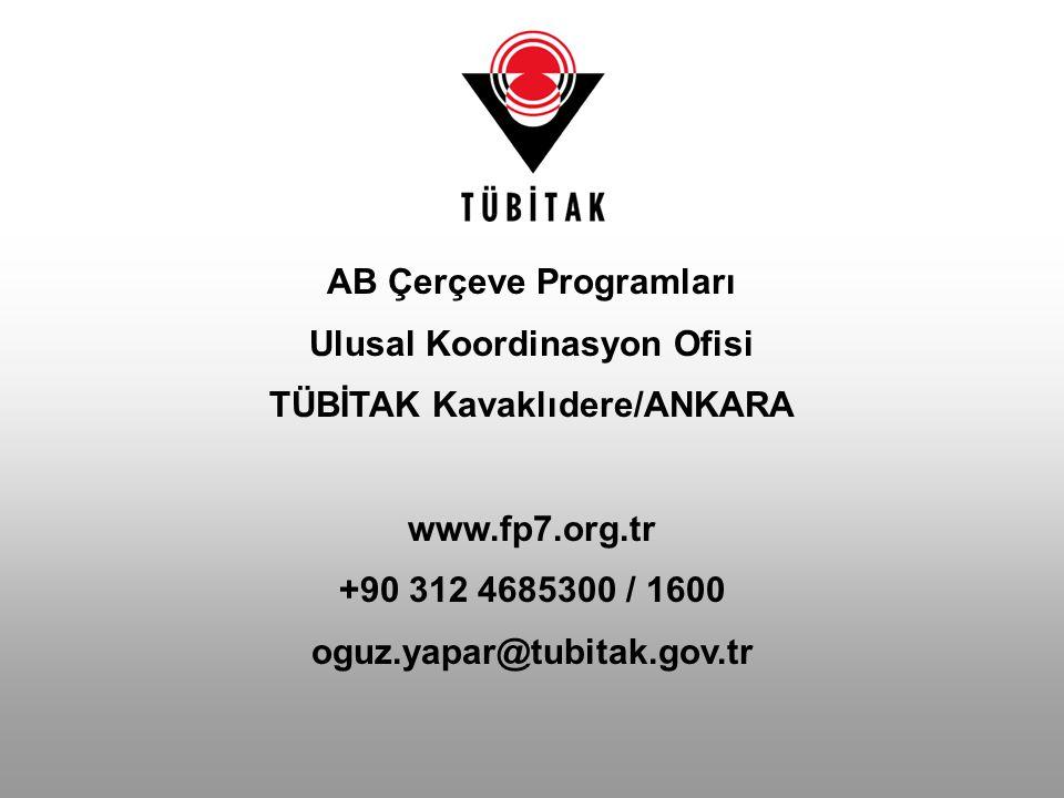AB Çerçeve Programları Ulusal Koordinasyon Ofisi TÜBİTAK Kavaklıdere/ANKARA www.fp7.org.tr +90 312 4685300 / 1600 oguz.yapar@tubitak.gov.tr