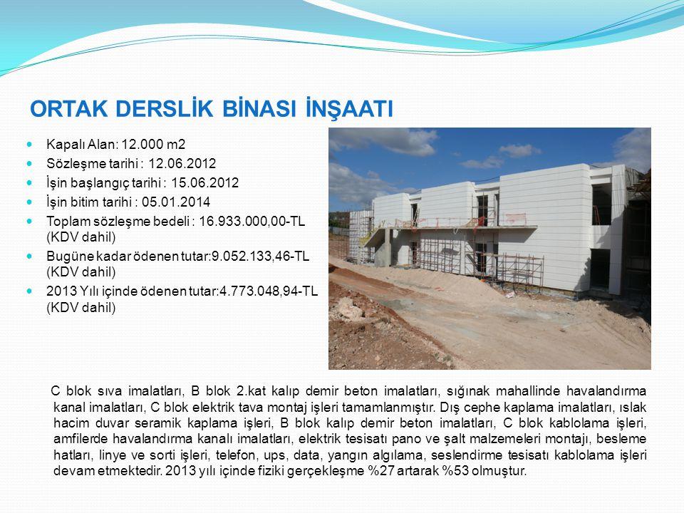 ORTAK DERSLİK BİNASI İNŞAATI  Kapalı Alan: 12.000 m2  Sözleşme tarihi : 12.06.2012  İşin başlangıç tarihi : 15.06.2012  İşin bitim tarihi : 05.01.2014  Toplam sözleşme bedeli : 16.933.000,00-TL (KDV dahil)  Bugüne kadar ödenen tutar:9.052.133,46-TL (KDV dahil)  2013 Yılı içinde ödenen tutar:4.773.048,94-TL (KDV dahil) C blok sıva imalatları, B blok 2.kat kalıp demir beton imalatları, sığınak mahallinde havalandırma kanal imalatları, C blok elektrik tava montaj işleri tamamlanmıştır.