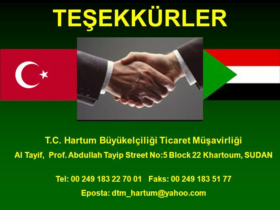 TEŞEKKÜRLER T.C.Hartum Büyükelçiliği Ticaret Müşavirliği Al Tayif, Prof.