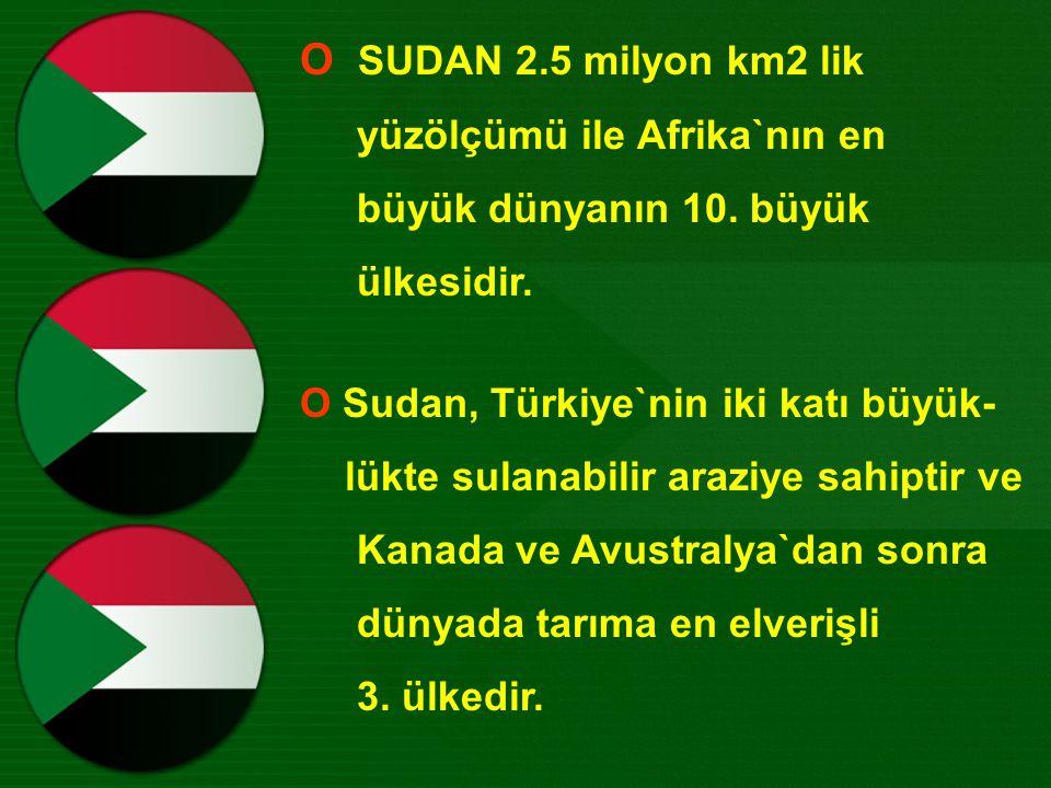 Ο SUDAN 2.5 milyon km2 lik yüzölçümü ile Afrika`nın en büyük dünyanın 10.
