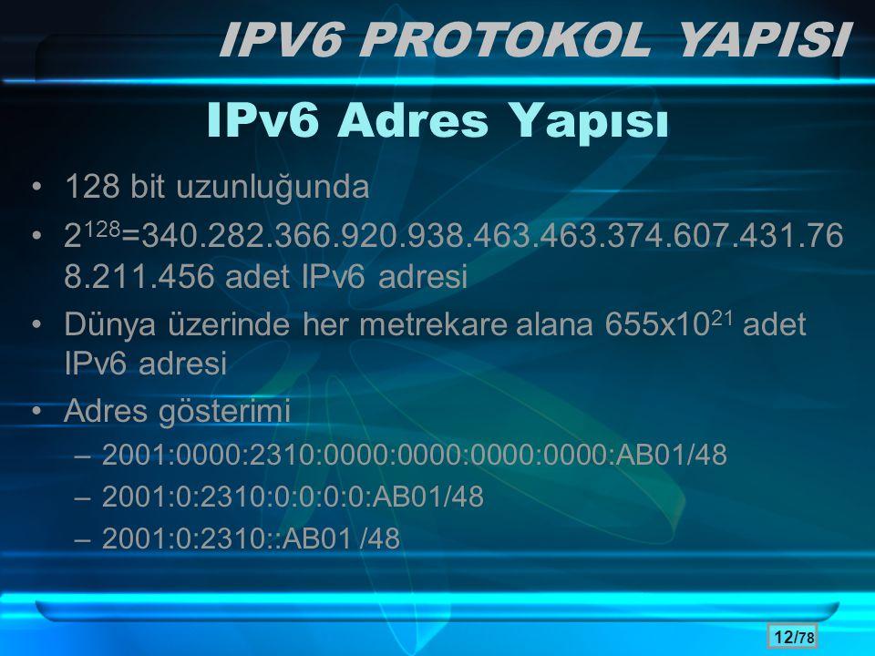 12/ 78 IPv6 Adres Yapısı •128 bit uzunluğunda •2 128 =340.282.366.920.938.463.463.374.607.431.76 8.211.456 adet IPv6 adresi •Dünya üzerinde her metrek