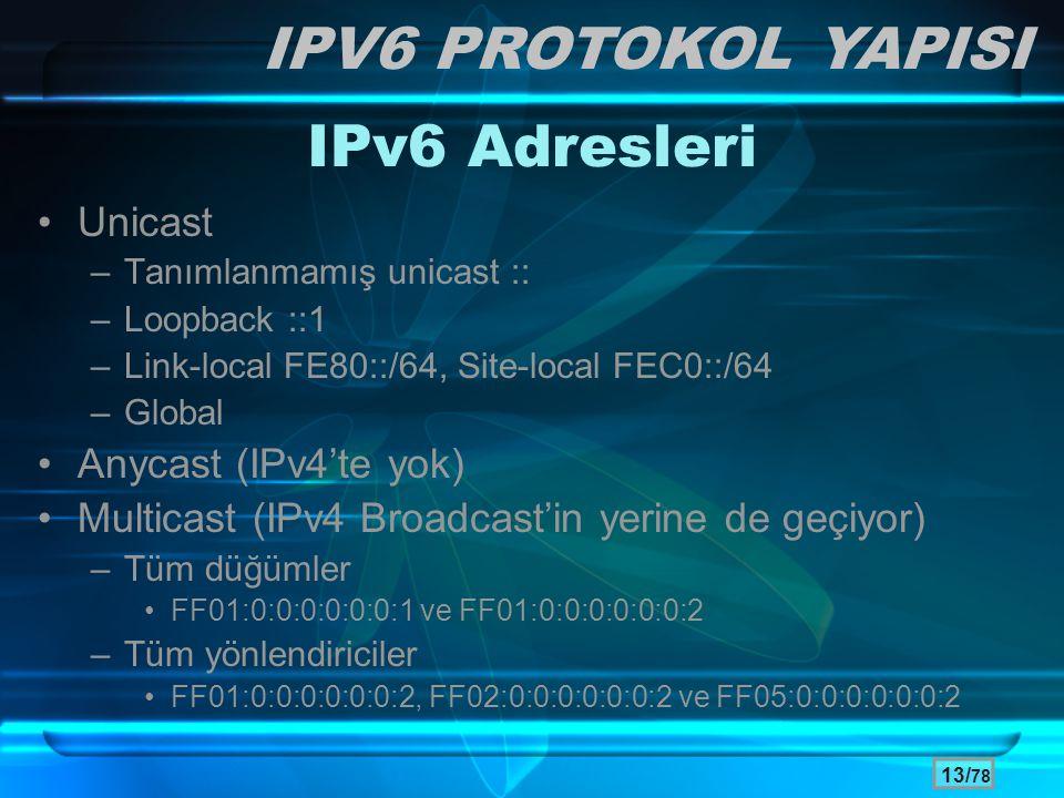 13/ 78 IPv6 Adresleri •Unicast –Tanımlanmamış unicast :: –Loopback ::1 –Link-local FE80::/64, Site-local FEC0::/64 –Global •Anycast (IPv4'te yok) •Mul
