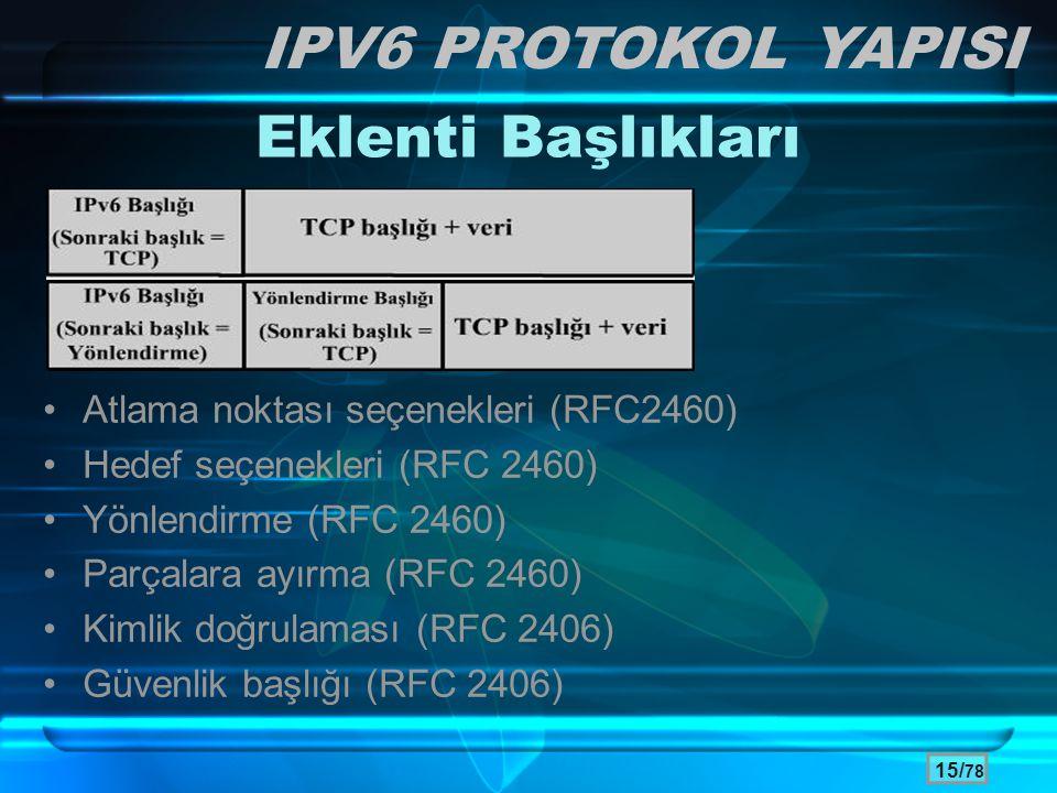 15/ 78 Eklenti Başlıkları •Atlama noktası seçenekleri (RFC2460) •Hedef seçenekleri (RFC 2460) •Yönlendirme (RFC 2460) •Parçalara ayırma (RFC 2460) •Ki