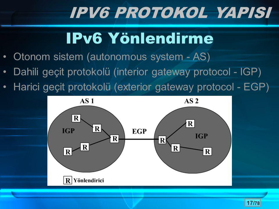 17/ 78 IPv6 Yönlendirme •Otonom sistem (autonomous system - AS) •Dahili geçit protokolü (interior gateway protocol - IGP) •Harici geçit protokolü (ext