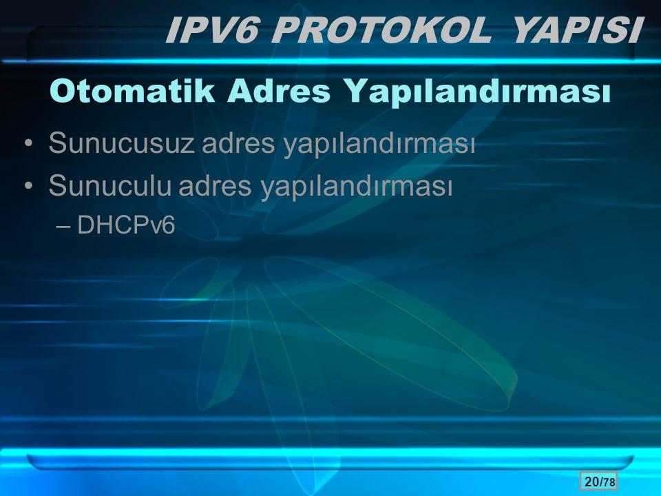 20/ 78 Otomatik Adres Yapılandırması •Sunucusuz adres yapılandırması •Sunuculu adres yapılandırması –DHCPv6 IPV6 PROTOKOL YAPISI