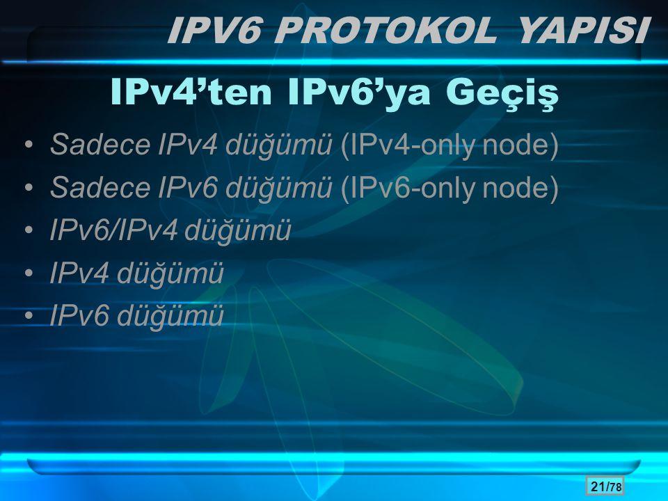21/ 78 IPv4'ten IPv6'ya Geçiş •Sadece IPv4 düğümü (IPv4-only node) •Sadece IPv6 düğümü (IPv6-only node) •IPv6/IPv4 düğümü •IPv4 düğümü •IPv6 düğümü IP