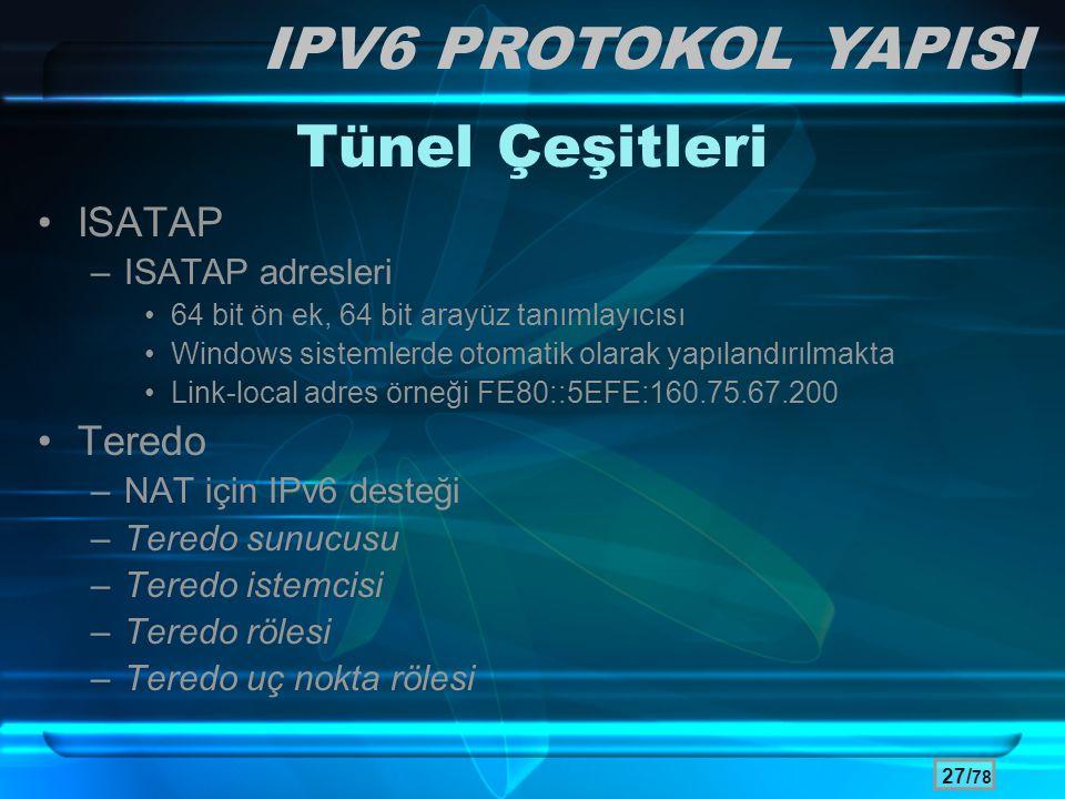 27/ 78 Tünel Çeşitleri •ISATAP –ISATAP adresleri •64 bit ön ek, 64 bit arayüz tanımlayıcısı •Windows sistemlerde otomatik olarak yapılandırılmakta •Li
