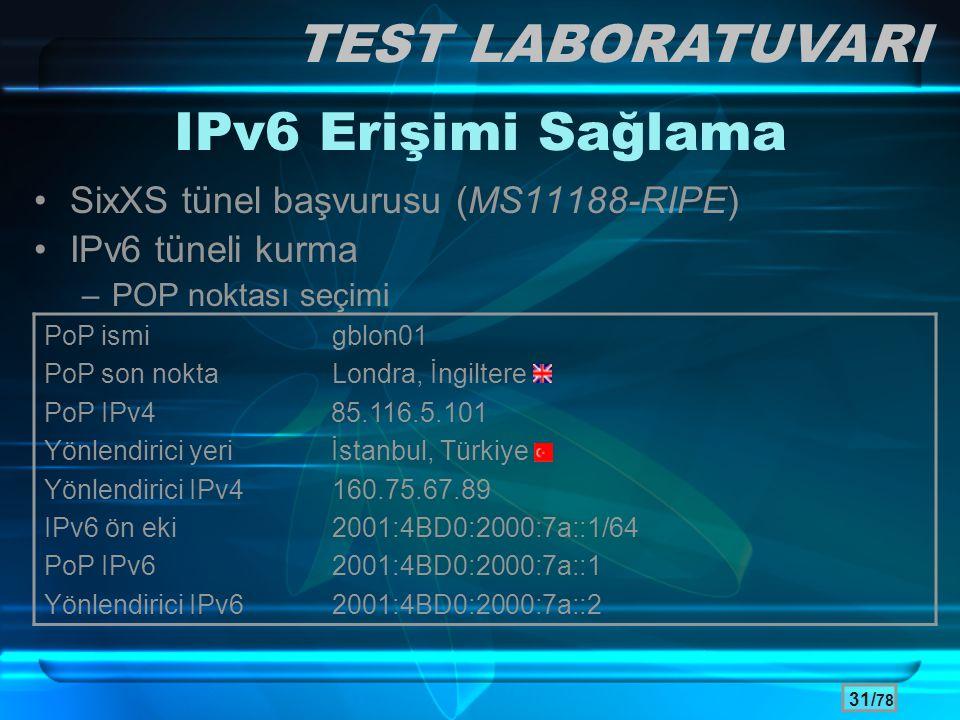 31/ 78 •SixXS tünel başvurusu (MS11188-RIPE) •IPv6 tüneli kurma –POP noktası seçimi PoP ismigblon01 PoP son nokta Londra, İngiltere PoP IPv4 85.116.5.